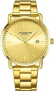 ساعة ستاهرلنغ اورجينال للرجال بسوار من الجلد أو سوار بمينا فضي مع تاريخ مصغر هيكل 38 مم - 3901 ساعات للرجال مجموعة