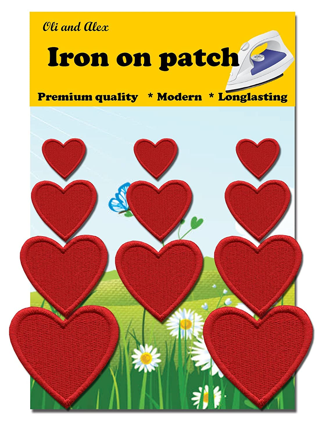 Iron On Patches - Red Heart Patch 11 pcs Iron On Patch Embroidered Applique A-142
