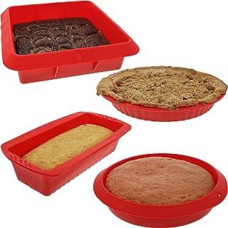 """مجموعه Bakeware - قالب های پخت - 4 مجموعه نانوایی سیلیکونی غیر استریل با قابلمه های گرد ، مربع و مستطیل برای کیک ، کیک ، شیرینی و سایر موارد - قرمز - اندازه: 11 """"، 10"""" ، 9 """"و 8""""."""