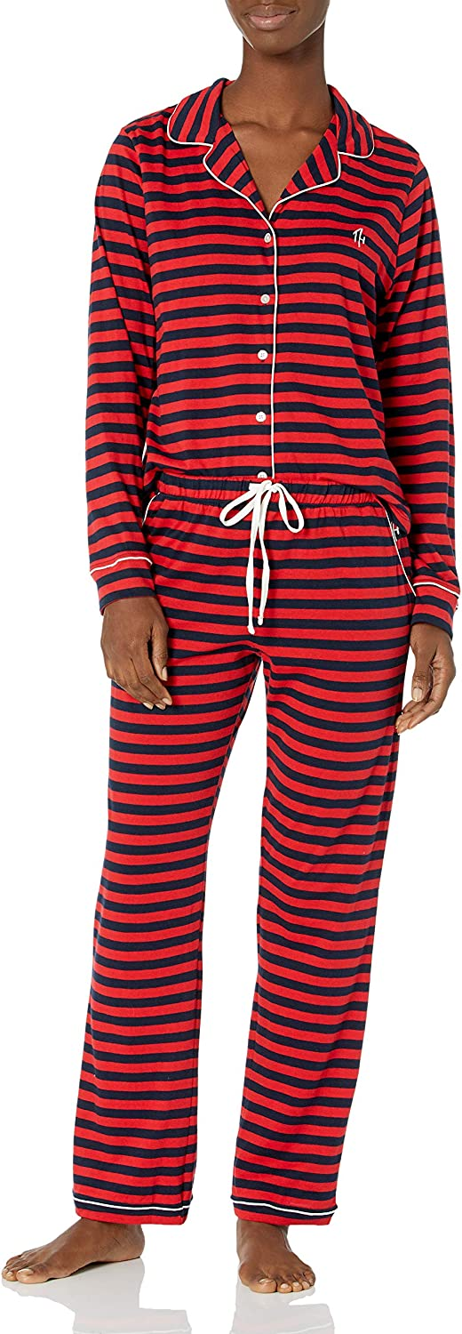Tommy Hilfiger Women's Notch Collar Long Sleeve and Pant Set