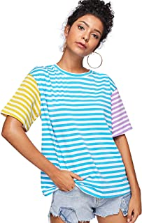 Women Crewneck Striped Short Sleeve T-Shirt Top Blouse