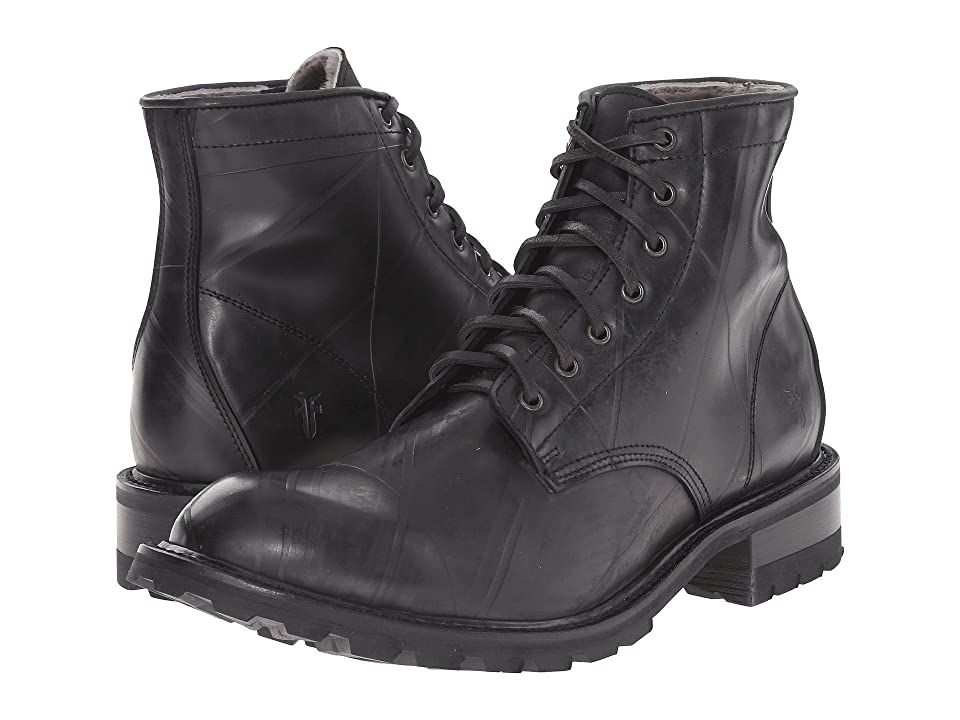 Frye Arkansas Rubber Lace Up (Black Recycled Rubber/Shearling Lined) Men