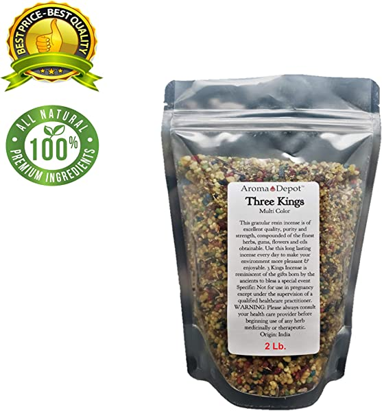 Aroma Depot 2 Lb 32 Oz Three Kings Resin Incense Granular Gum Tres Reyes Magos Trois Mages Meditation Spiritual Church Relaxation And Prayer Pure No Additives Added