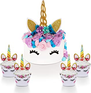 Unicorn Cake Topper with Eyelashes and Unicorn Cupcake Toppers & Wrappers Set - Unicorn Party Decorations Kit for Birthday Party, Baby Shower and Wedding
