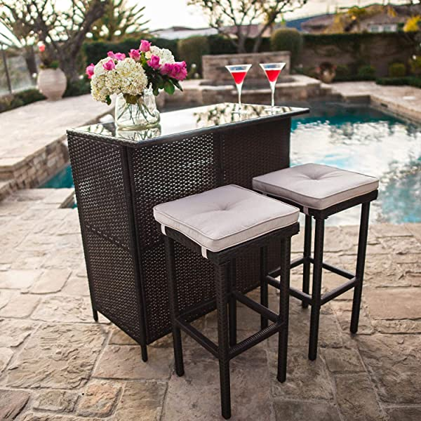 SUNCROWN Outdoor Bar Set 3 Piece Brown Wicker Patio Furniture Glass Bar And Two Stools With Cushions For Patios Backyards Porches Gardens Or Poolside