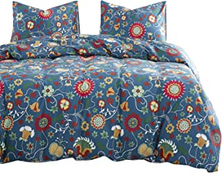 Wake In Cloud - Floral Comforter Set, 100% Cotton Fabric with Soft Microfiber Fill Bedding, Colorful Flowers Pattern Printed (3pcs, Queen Size)