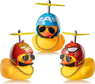 Haooryx 3 Pack Rubber Duck Toys Car Ornaments Helmet Yellow Duck Car Dashboard Decorations Set, Superhero Series Rubber Du...