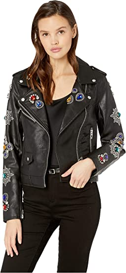 Embellished Vegan Leather Jacket in Gold Digger