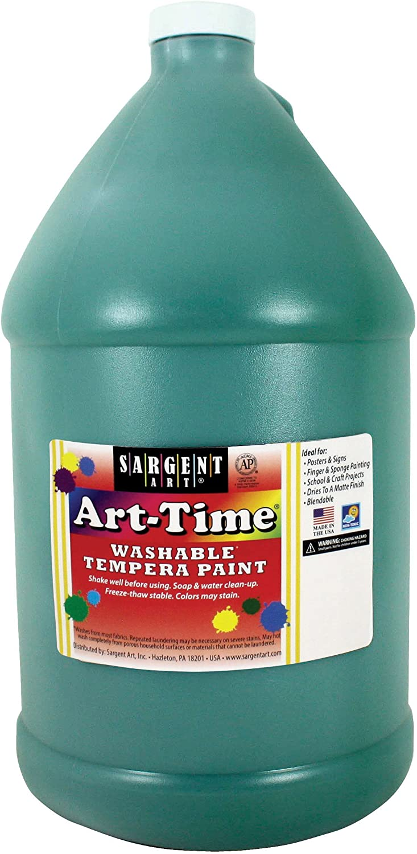 Ssilver Art 17-3666 128 oz Green Art-Time Washable Tempera Paint,1 gallon