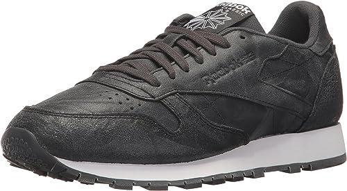 Reebok Men's CL Leather CTE Fashion Turnzapatos, Gravel negro blanco, 12 M US