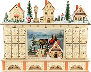 Clever Creations Traditional LED Wooden Advent Calendar Decoration | Festive Christmas Village Design with 24 Drawers | LE...