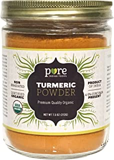 Organic Turmeric Powder Spice 8.5 oz - Freshly Packed in Glass Jar