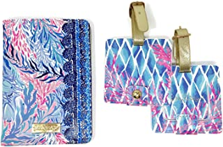Lilly Pulitzer Travel Set, Leatherette Passport Cover/Holder/Wallet and 2 Luggage Tags Multicoloured Size: One_Size