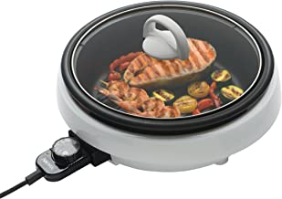 Aroma Housewares  ASP-137 3-Quart/10-inch 3-in-1 Super Pot with Grill Plate, White/Black
