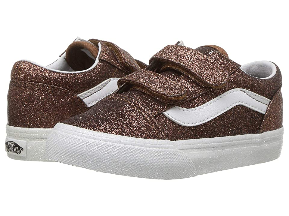 Vans Kids Old Skool V (Infant/Toddler) ((Glitter) Bronze/True White) Girls Shoes