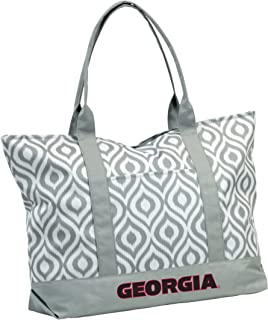 Collegiate Ikat Zippered Tote with Front Pocket