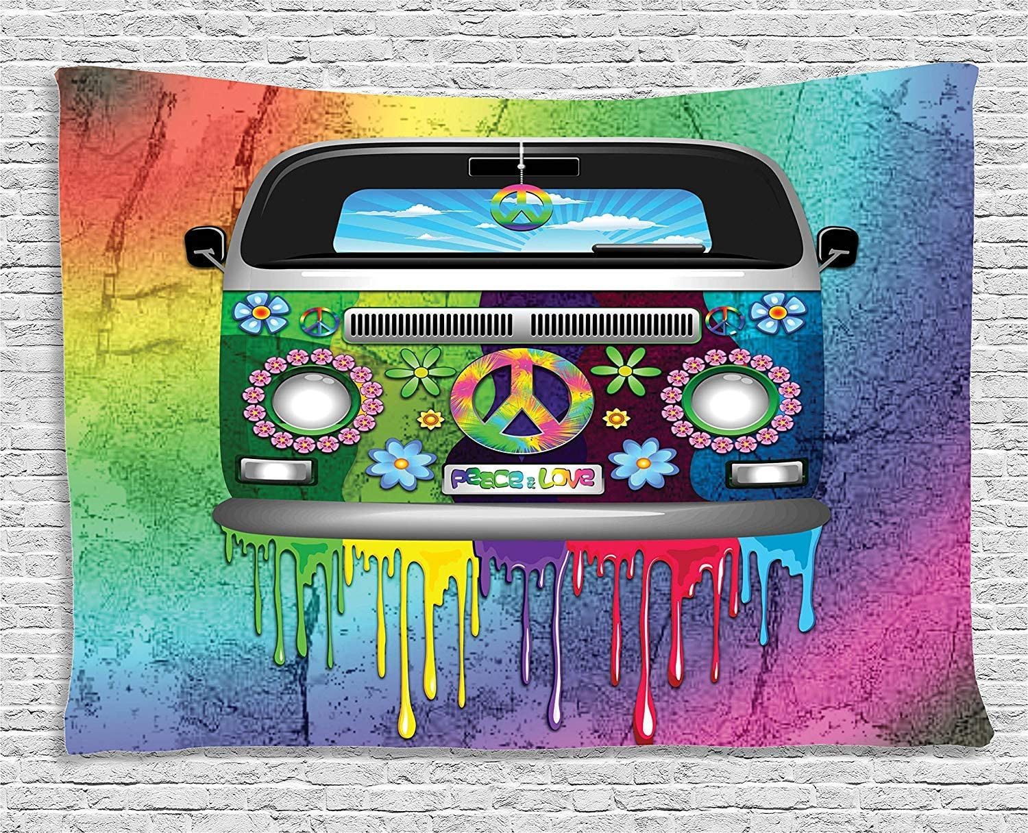 Ambesonne Groovy Tapestry Old Style Dripping Max 51% OFF Van Rainbow Special price Hippie