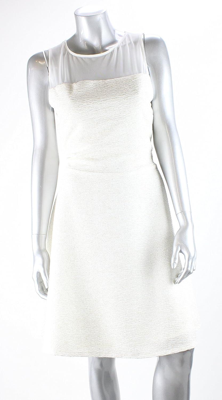 Bar Iii White Metallic Sleeveless Illusion Top ALine Dress Xl