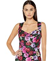 ESCADA - Peony Printed Cotton Viscose Sweetheart Dress