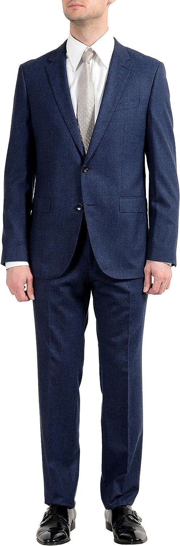 Hugo Boss Novan5/Ben2 Men's 100% Wool Blue Plaid Two Button Suit US