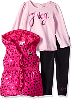 Juicy Couture Baby Girls 3 Pieces Puff Vest Set