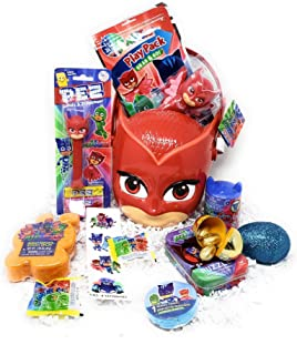 JGT DIY Happy Easter Basket PJ Masks OWELLETTE Kids Girls Toddlers Birthday Gift Baskets Plush Stuffed Toys Stuffers Eggs Gifts Goodies Activities Artificial Grass Decorations Party Favors Bow Bag