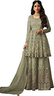 Fabzara Womens New Green Color Plazzo Style Embroidered Suit (FZ_71005_Green)