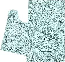ITSOFT 3pc Non-Slip Shaggy Chenille Bathroom Mat Set, Includes U-Shaped Contour Toilet Mat, Bath Mat and Toilet Lid Cover, Machine Washable, Spa Blue