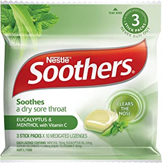 SOOTHERS Eucalyptus & Menthol Sore Throat Lozenges 30 Pack, 120g