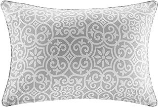 Aptos Printed Fret 3M Scotchgard Outdoor Modern Throw Pillo, Global Inspired Fashion Simple Oblong Decorative Pillow, 14X20, Grey