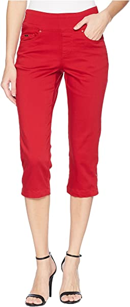 D-Lux Denim Pull-On Capris in Red