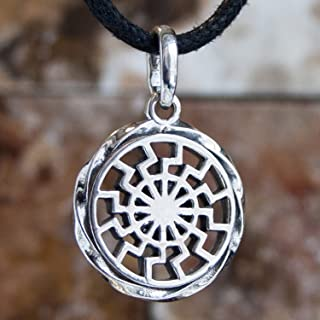 925 Sterling Silver Black Sun Wheel Necklace Sonnenrad Pendant Occult Symbol Kolovrat Warrior Amulet Talisman Pagan Norse Viking Jewelry for Men Women/Handmade