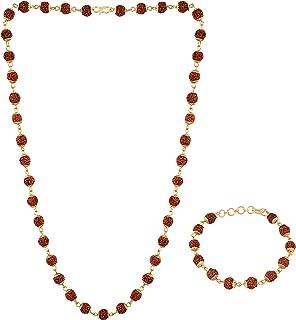 I Jewels Gold Plated Combo of Rudraksha Mala & Bracelet for Men & Women (MLP11)