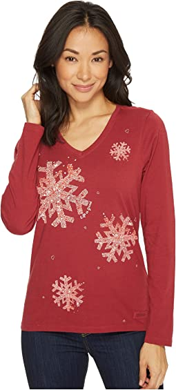 Life is Good - Snowflake Tiny Hearts Crusher Long Sleeve Vee