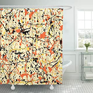 Emvency Shower Curtain Blue Pollock Abstract Expressionism Pattern of Drip Painting Colorful Waterproof Polyester Fabric 72 x 78 Inches Set with Hooks