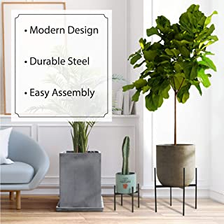 Mid-Century Metal Plant Stand, Weather Resistant, Indoor and Outdoor Planter Stand (Small)