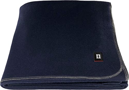 "EKTOS 100% Wool Blanket, Navy Blue, Warm & Heavy 5.5 lbs, Large Washable 66""x90"" Size, Perfect for Outdoor Camping, S..."