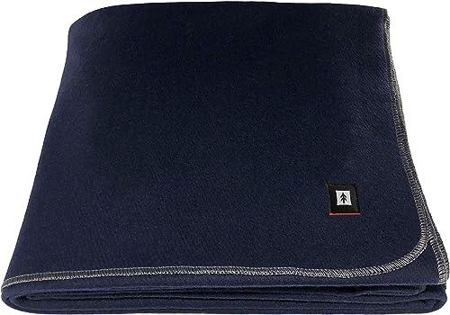 "EKTOS 100% Wool Blanket, Washable, 5.0 lbs, 66""x90"" (Twin Size) - Navy Blue"