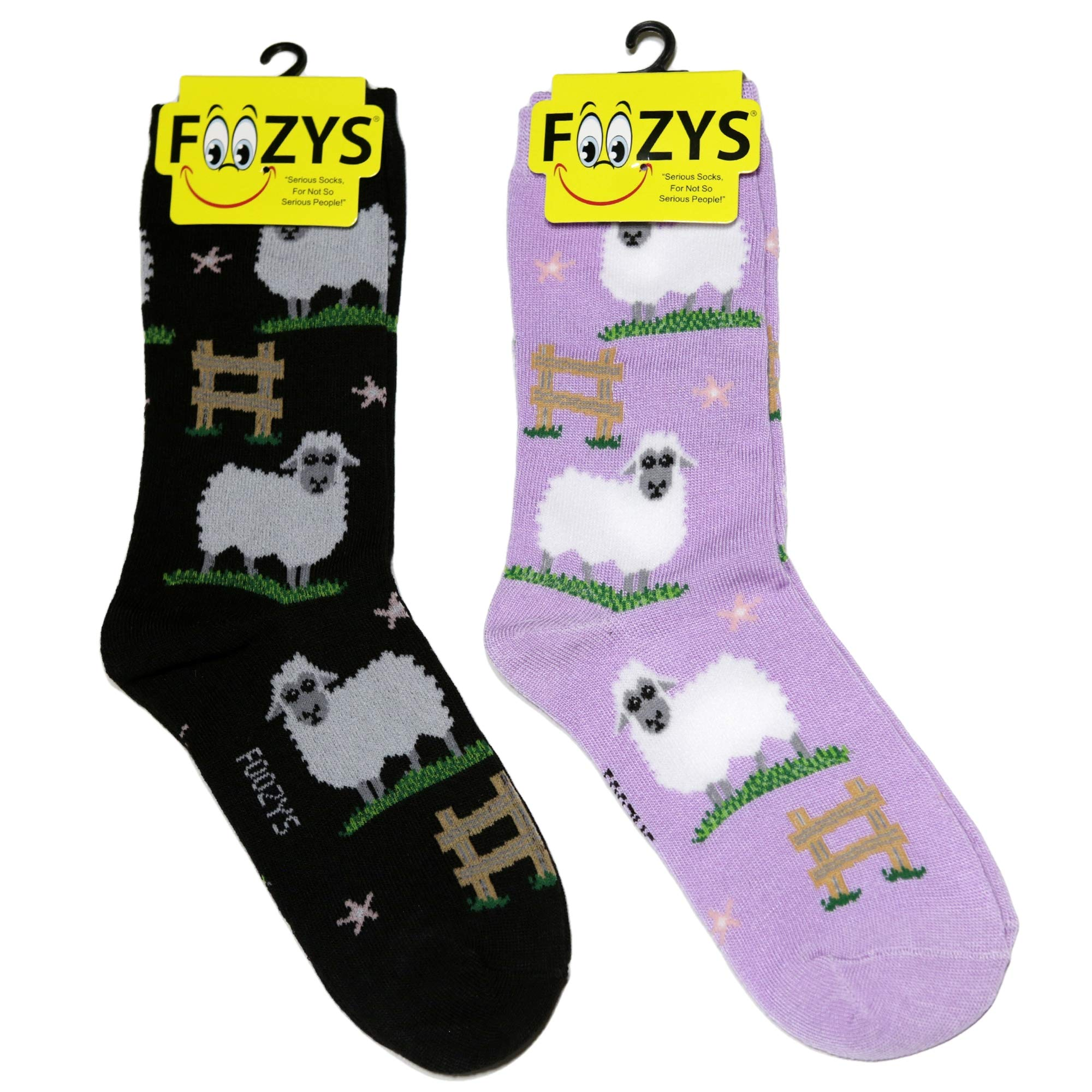 Foozys Women's Crew Socks | Funny Cute Farm Animal Themed Novelty Socks | 2 Pair