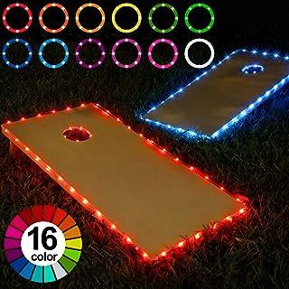Frienda Cornhole Lights, 16 Colors Change Cornhole Board Edge and Ring LED Lights with Remote Control for Family Backyard Bean Bag Toss Cornhole Game, 2 Set