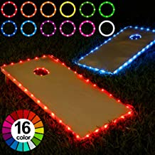 Frienda Cornhole Lights, 16 Colors Change Cornhole Board Edge and Ring LED Lights with Remote Control for Family Backyard Bean Bag Toss Cornhole Game, 2 Set