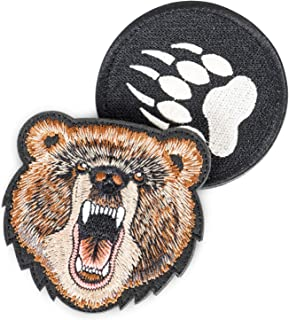 Art Crafter 2-Pack Cloth Outdoor Sports Embroidered Patches Kit, Bear Claw Velcro Epaulettes & Animal Bear Clothes Label