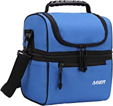 MIER 2 Compartment Lunch Bag for Men Women, Leakproof Insulated Cooler Bag for Work, School, Navy Blue