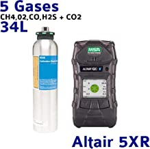 MSA ALTAIR 5X Gas Detector with Color Display, and, MSA 10048280 Calibration Gas Cylinder 34L (CH4/LEL, 02, CO & H2S)