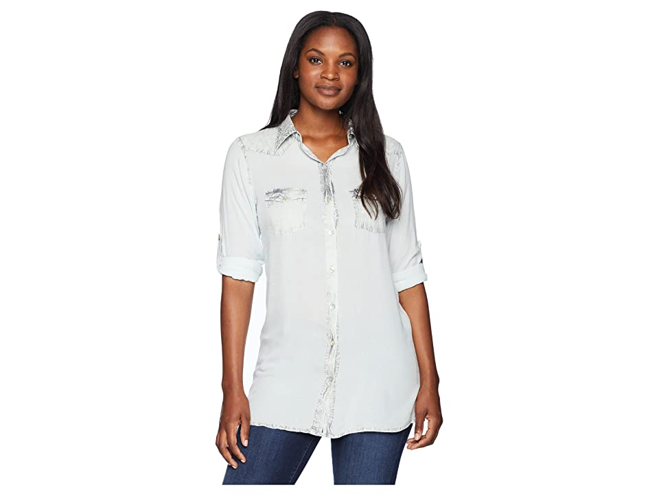 Scully Bae Sexy Fabric Button Front Blouse (Dusty Blue) Women