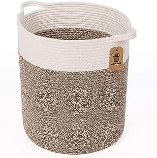 Goodpick Medium Cotton Rope Basket - Woven Basket - Baby Laundry Basket - Blanket Basket - Toy Storage Magzines Containers Bin for Living Room Floor Nursery 15
