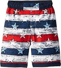 White Americana Stripe Print/Collegiate Navy