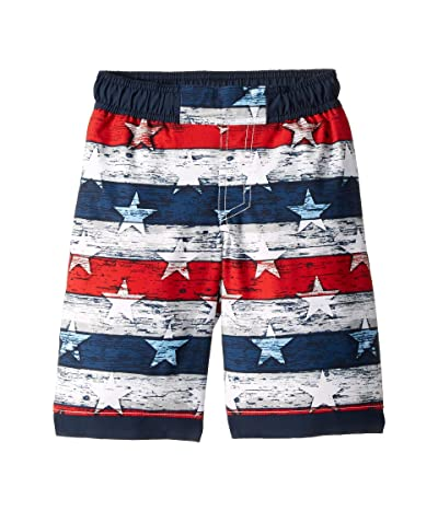 Columbia Kids Sandy Shorestm Boardshorts (Little Kids/Big Kids) (White Americana Stripe Print/Collegiate Navy) Boy
