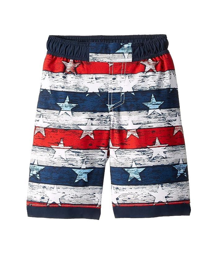 Columbia Kids Sandy Shorestm Boardshorts (Little Kids/Big Kids) (White Americana Stripe Print/Collegiate Navy) Boy