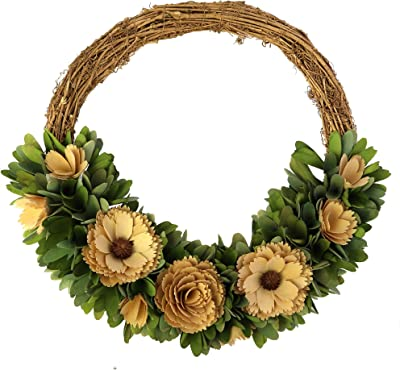 Benjara Wooden Shaving Wreath with Flower and Petal Details, Brown and Yellow